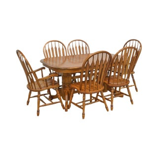 Traditional Solid Oak 11 Piece Dining Set & Table W/ 10 Arrow Back Windsor Chairs For Sale