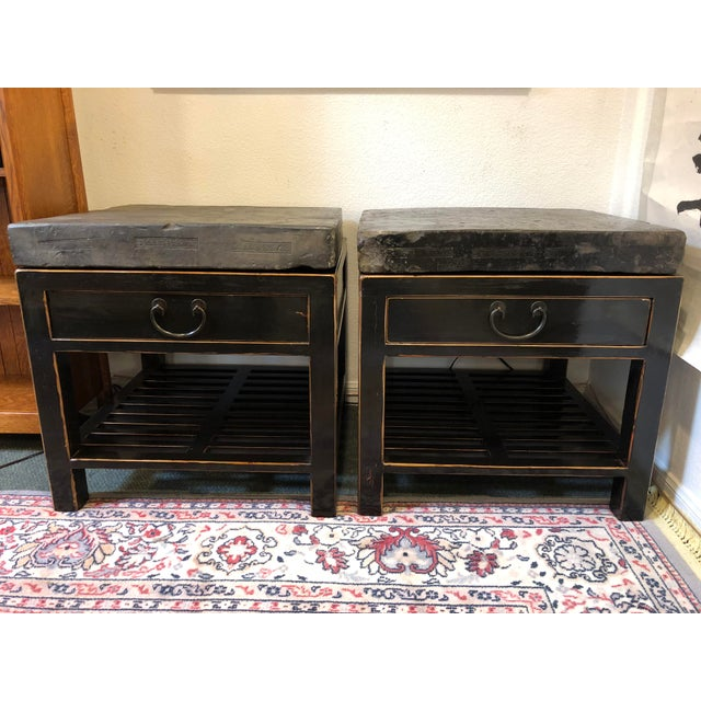 Antique Chinese Stone Top Side Tables - a Pair For Sale - Image 13 of 13
