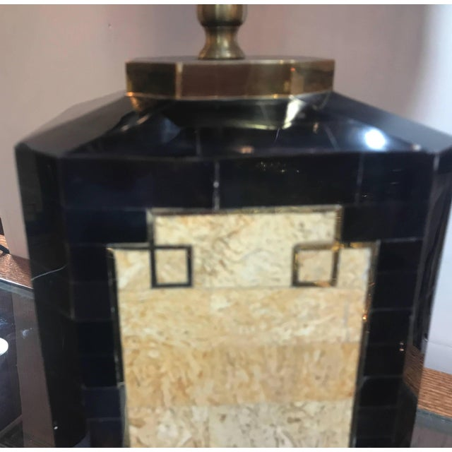 1980s Mid-Century Modern Tessellated Stone Inlaid Lamps - a Pair For Sale In Philadelphia - Image 6 of 10