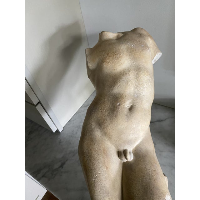 1950s Sculpture on Stand of a Male Body For Sale - Image 5 of 6