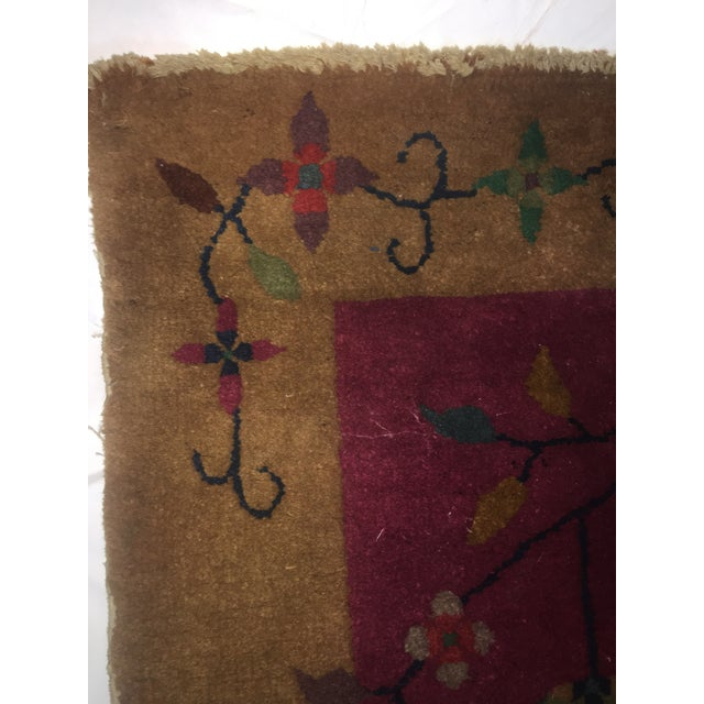 """Red Gold & Red Vintage Chinese Wool Rug - 2' x 3'10"""" For Sale - Image 8 of 11"""