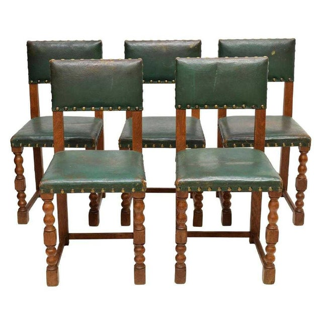 Mid 20th Century Vintage Mid Century Renaissance Revival Style Oak Side Chairs- Set of 5 For Sale - Image 5 of 5