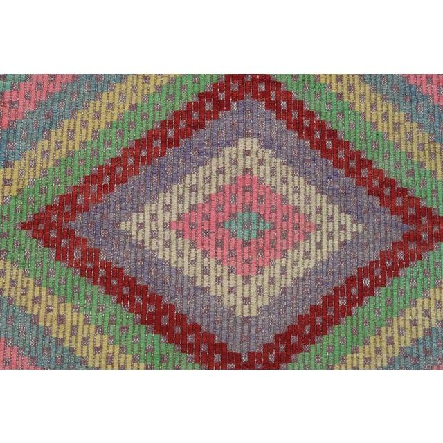 Wine Anatolian Kilim Turkish Embroidery Rug For Sale - Image 8 of 13