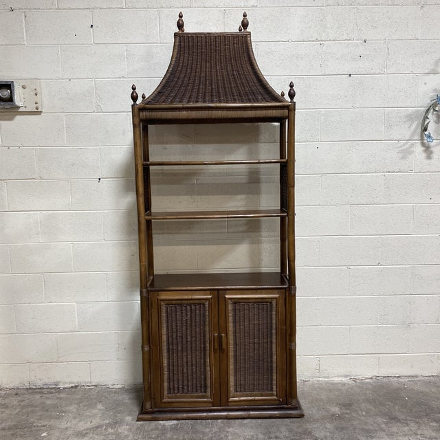 Walnut and Wicker Pagoda Etageres Cabinet For Sale - Image 13 of 13