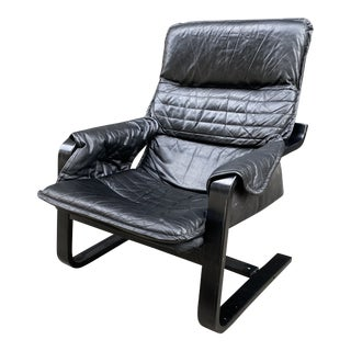 1980s Postmodern Leather Poang Chair For Sale