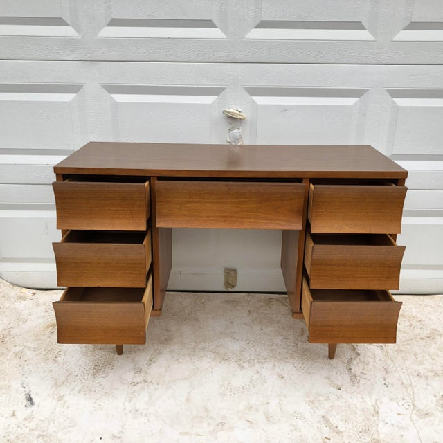 Boho Chic Mid-Century Modern Curved Front Writing Desk For Sale - Image 3 of 13