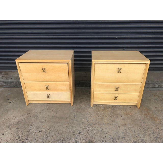 Pair of mid century Johnson Furniture Paul Frankl nightstands. Sold in as found vintage condition. Sturdy solid wood...