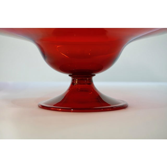 Salviati 1940s Italian Antique Ruby Red Blown Murano Glass Compote Bowls - a Pair For Sale In New York - Image 6 of 10