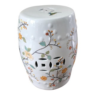 1980s Contemporary Gumps Hummingbird Delight Hand Painted Porcelain Garden Stool For Sale