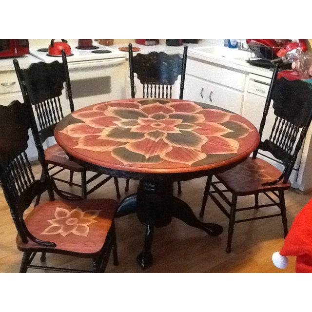 Wood Stain Art Dining Table Set - Image 3 of 7
