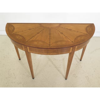 1990s Vintage Adam Style High Quality Highly Inlaid Satinwood Console Table Preview