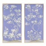 """Image of Simon Paul Scott for Jardins en Fleur """"Inverness"""" Chinoiserie Hand-Painted Silk Diptych - 2 Pieces For Sale"""