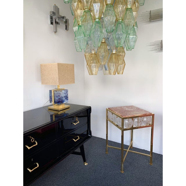 Metal Contemporary Pair of Brass Side Table Rock Cristal Onix, Italy For Sale - Image 7 of 11