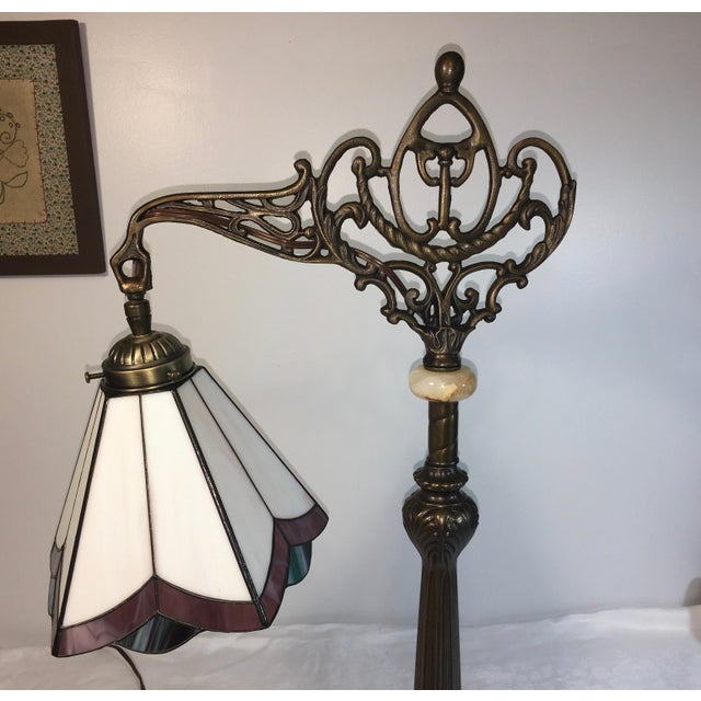 Stained Glass Bridge Table Lamp For Sale - Image 4 of 6