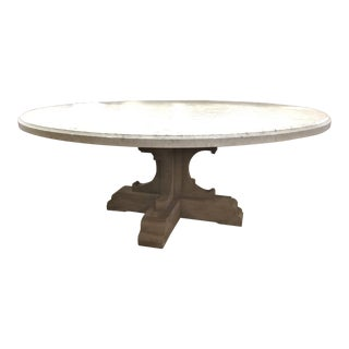 French Restoration Hardware Bastide Oak & Marble Round Dining Table For Sale
