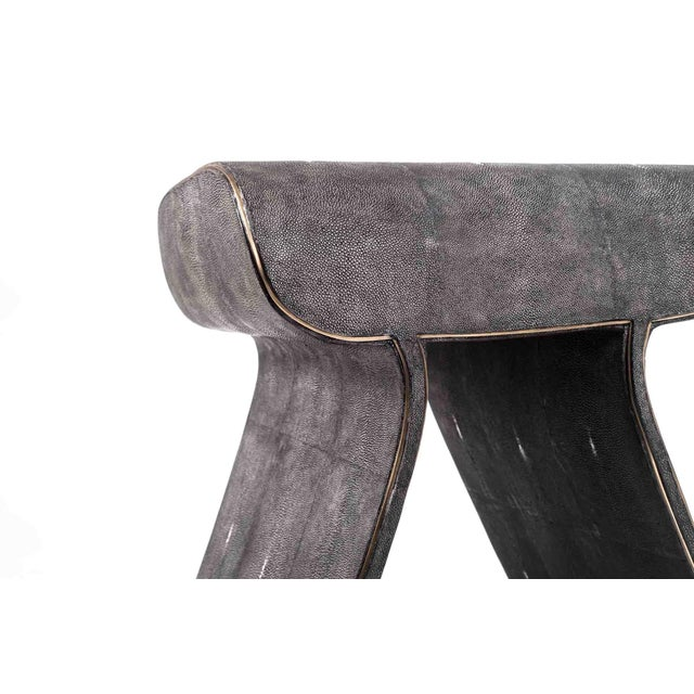 White Dandy Stool in Cream Shagreen With Bronze-Patina Brass Details by Kifu Paris For Sale - Image 8 of 11