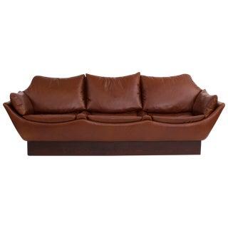 Phenomenal Danish Leather Sofa For Sale