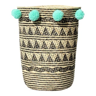 Borneo Tribal Drum Basket - with Mint Pom-poms