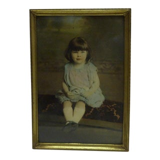 Vintage Color Photograph of a Little Girl For Sale