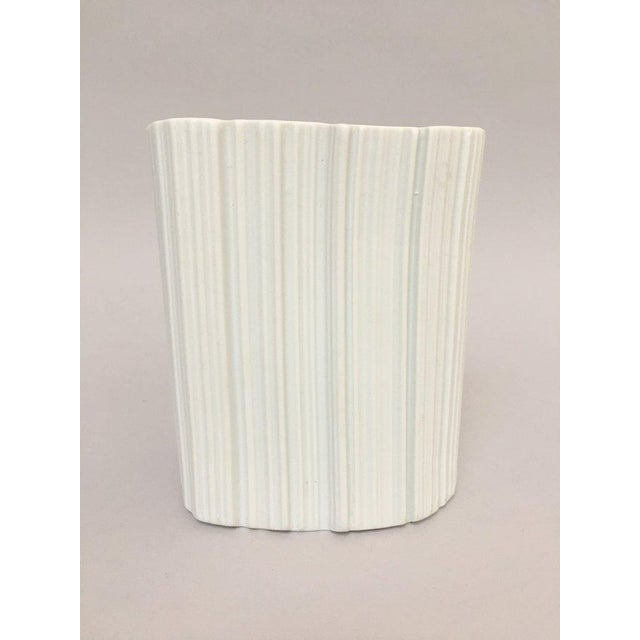 Contemporary Modernist White Bisque Porcelain Naaman Ridged Vase For Sale - Image 3 of 10