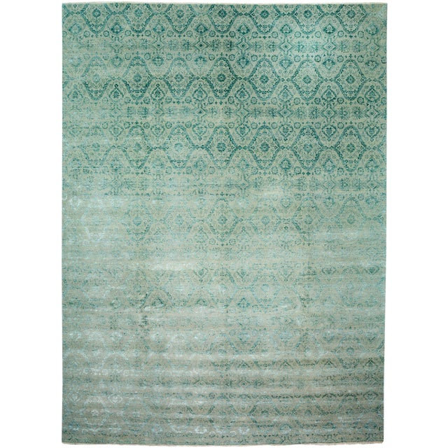 "New Ikat Hand Knotted Area Rug - 9'1"" x 12'4"" - Image 1 of 3"