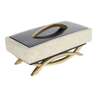 Genuine Shagreen and Lacquered Pen Shell Footed Box