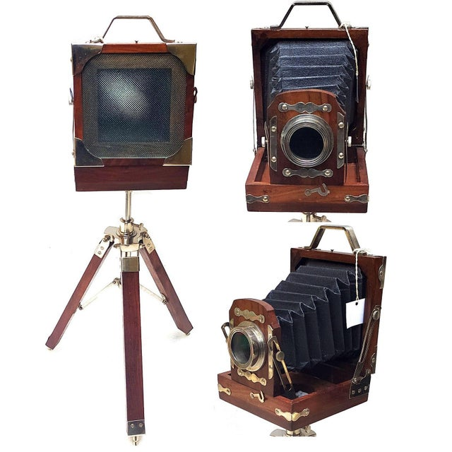 Vintage Nickel Plated Brass Camera with Tripod Stand Replica For Sale - Image 6 of 7