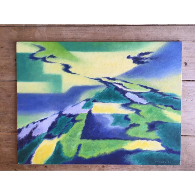 Eleanor Perry 1969 Abstract Landscape Painting - Image 2 of 6