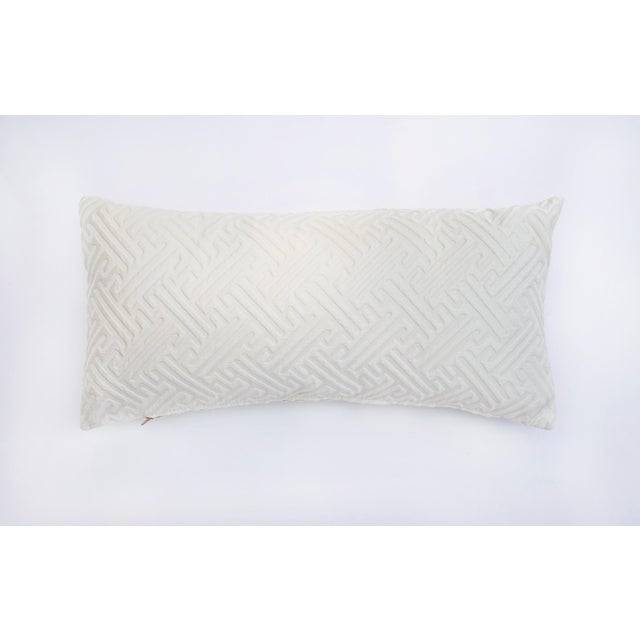 Cream Geometric Print Lumbar Pillow For Sale In Raleigh - Image 6 of 6