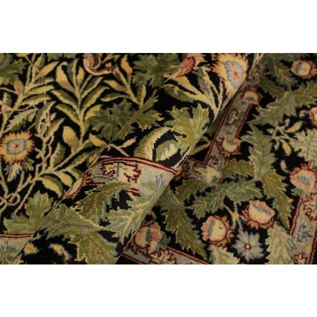 English Traditional Imran Pak-Persian Danette Black/Green Wool Rug - 4'1 X 6'0 For Sale - Image 3 of 8