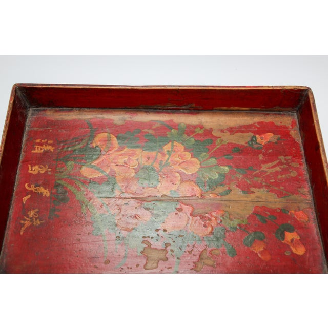 Chinese Antique Red Hand Painted Wood Tray For Sale - Image 9 of 13