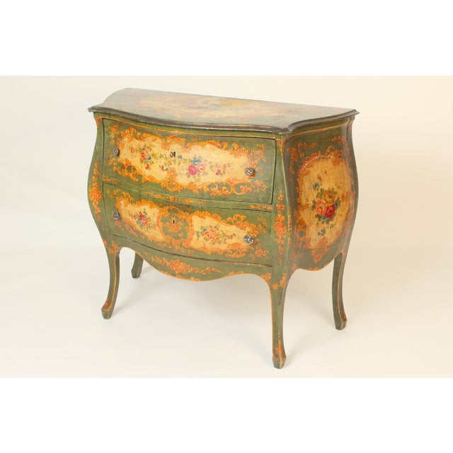 Italian Louis XV style floral painted bombe commode, circa 1930's. Nice old original paint. Hand dovetailed drawer...