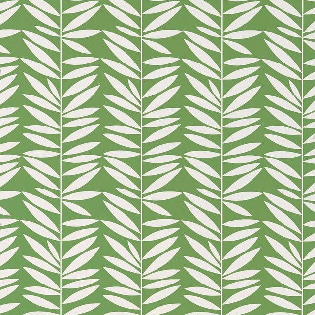 Schumacher Leaf Stripe Wallpaper in Leaf For Sale