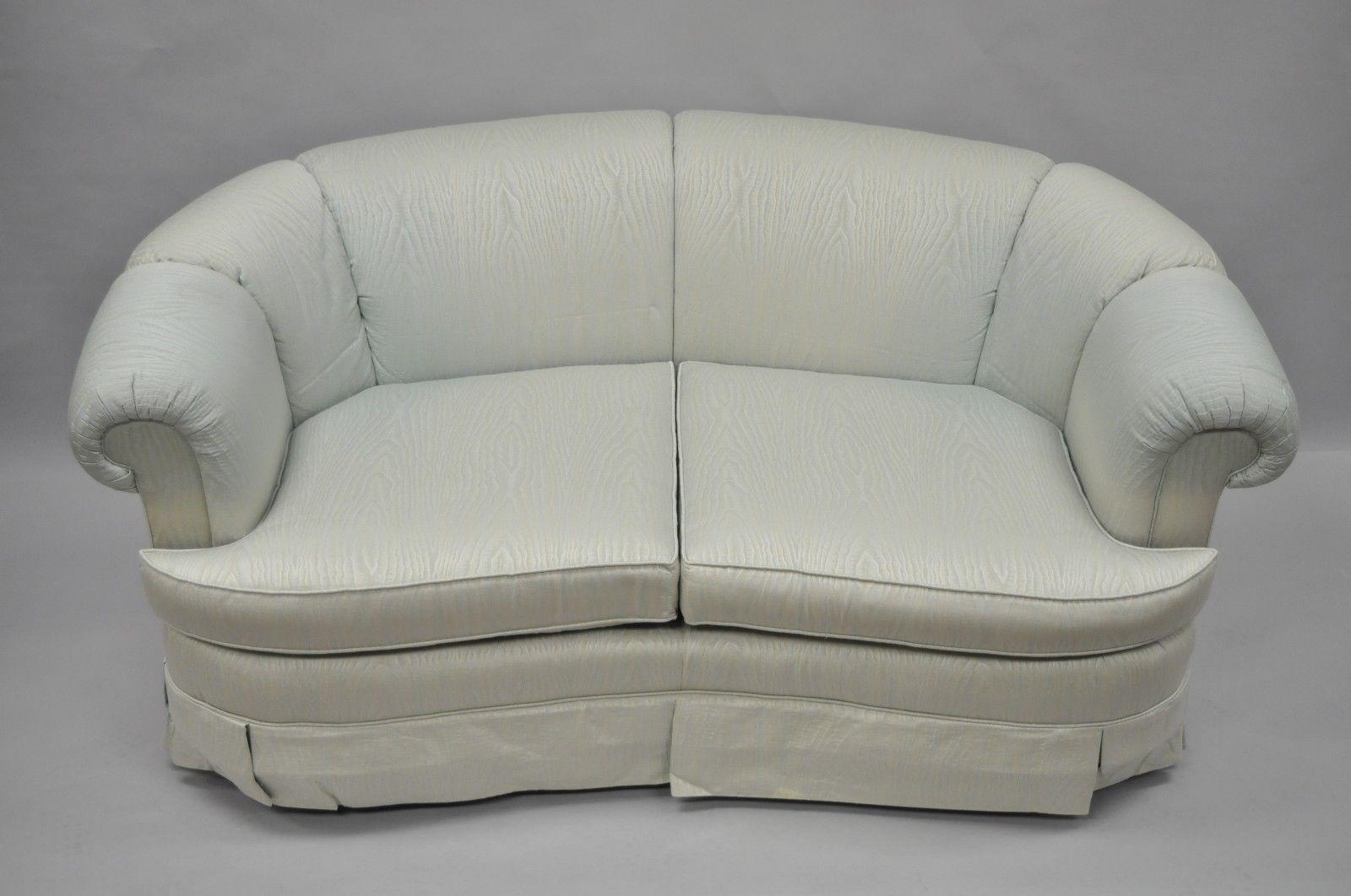 Lovely Henredon Henredon Schoonbeck Upholstered Curved Loveseat Short Sofa 66  Rolled Arms A For Sale   Image