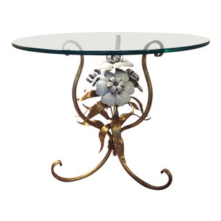 1960s Italian Gilt Tole Floral Side Table For Sale