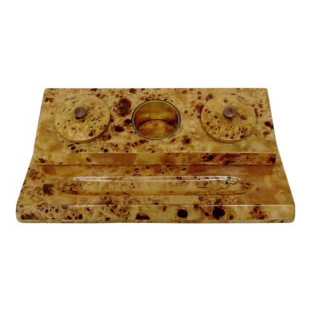 Lacquered Burl Wood Desk Set For Sale