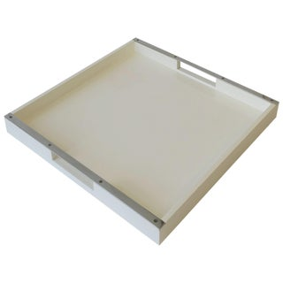 White Lacquer Serving Tray For Sale