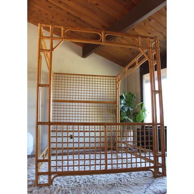 Vintage Queen Rattan and Bamboo Chippendale Chinoiserie Canopy Bed - Image 8 of 11