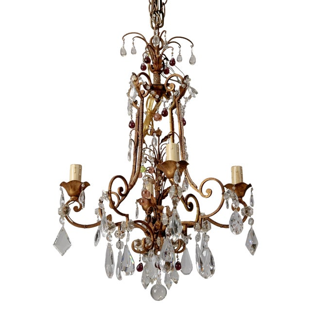 1920's Italian Four Light Crystal Chandelier With Colored Drops - Image 1 of 7
