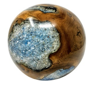 Solid Natural Teak Wood Sphere With Crackled Resin For Sale