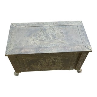 Antique Etched Brass Coal Firewood Box For Sale