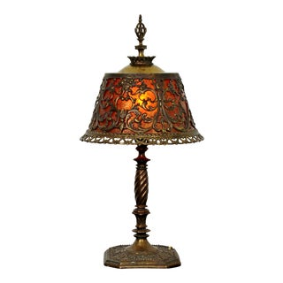 1920s Art Deco Oscar Bach Small Bronze & Amber Glass Detailed Table Lamp For Sale