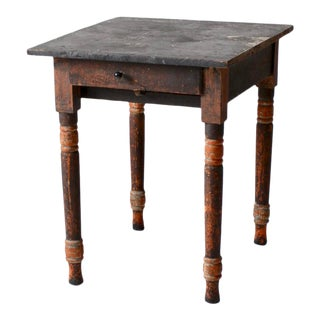 Antique Primitive Side Table With Drawer For Sale