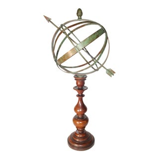Bronze Armillary on Wood Turned Base