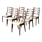 Image of Set of 6 Kai Kristiansen Ladder Back Rosewood Dining Chairs For Sale