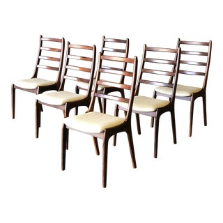 Set of 6 Kai Kristiansen Ladder Back Rosewood Dining Chairs For Sale