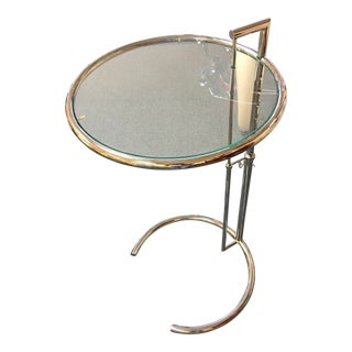 Eileen Gray Chrome Glass Top Adjustable Side Table