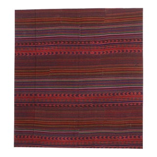 1960s Contemporary Bohemian Vintage Turkish Jajim Kilim Striped Area Rug - 9′9″ × 10′6″ For Sale