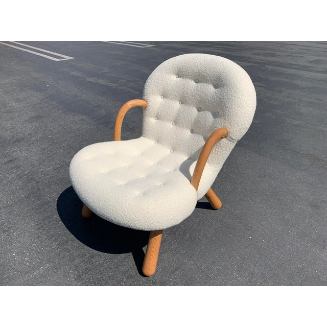 "Mid-Century Modern Philip Arctander Style ""Clam"" Boucle For Sale - Image 3 of 6"