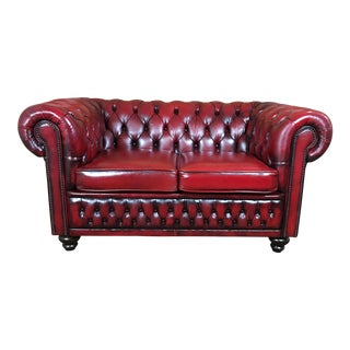 Vintage Mid-Century English Leather Chesterfield 2 Seat Loveseat For Sale